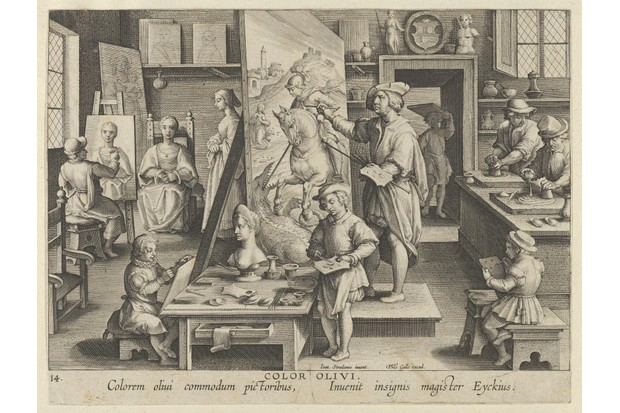 An engraving depicting a master and his apprentices carrying out their duties in a busy artist's workshop