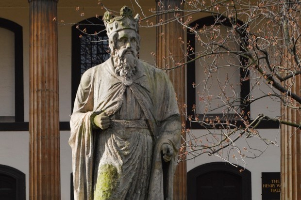 Statue of King Alfred the Great in leafy Trinity Church Square, Southwark. It is thought to be the oldest statue in London.