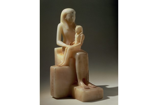 A calcite figure of King Pepi II – crowned at around the age of six – with his mother, who acted as his regent.
