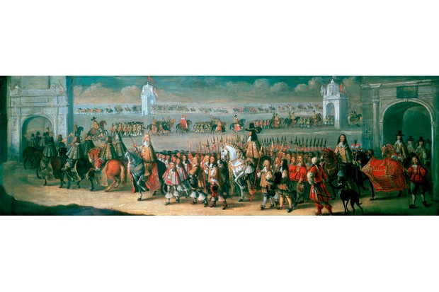 Charles II processes from the Tower of London to Westminster on the eve of his coronation.