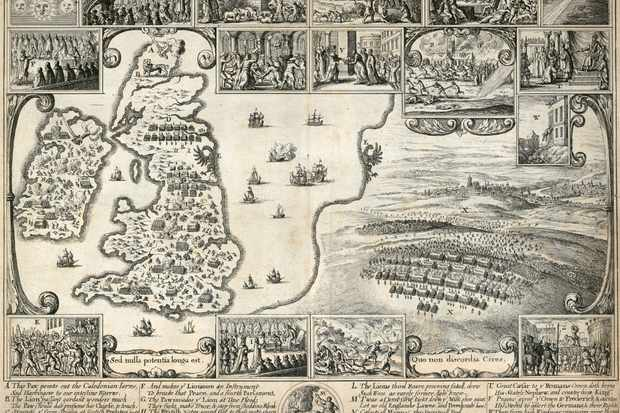 Seismic splits: This map from c1659 shows blood being spilled across the British Isles during the Civil Wars. Charles II's agenda for restoring order to his kingdoms was a cocktail of pragmatism, compromise and brutality.