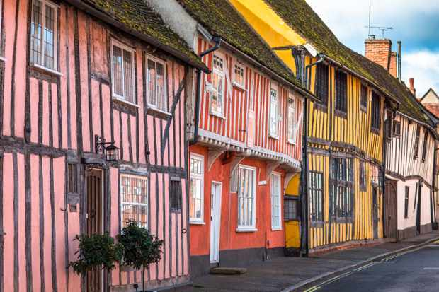 Half-timbered medieval cottages, Water Street, Lavenham, Suffolk, England, (Photo by Getty Images)