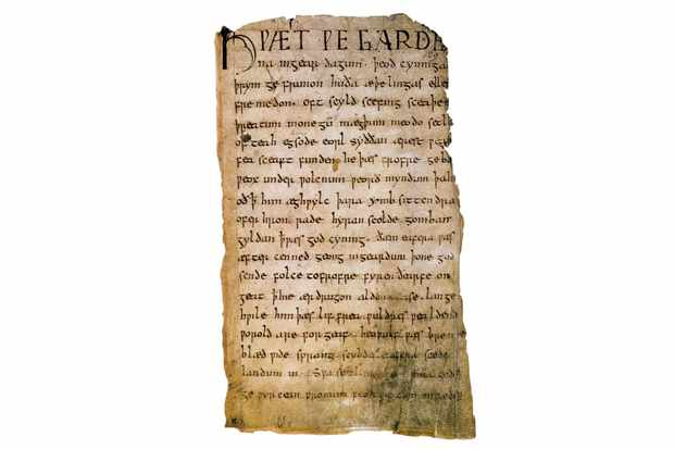 Giant of literature: A page from the 'Beowulf' manuscript. The story is fictional but some of the characters within it were real people, and others were believed to be the ancestors of Anglo-Saxon and Danish kings. (Photo by Alamy)