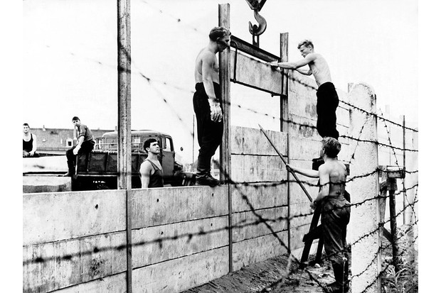 August 1961: Building commandos of the National People's Army of the German Democratic Republic begin building the 3.5 metre-high wall to separate East Berlin from the other parts of the city. (Photo by Keystone-France/Gamma-Keystone via Getty Images)