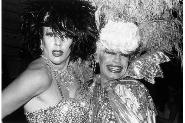 c1981: Drag queens pose in elaborate costumes at the reopening of Studio 54, New York City. (Photo by Tom Gates/Hulton Archive/Getty Images)