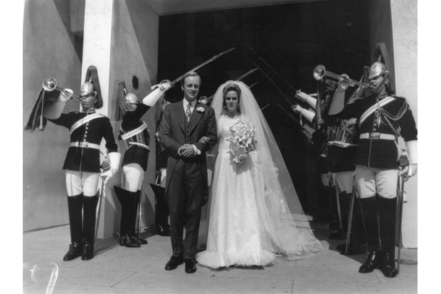 The wedding of Andrew Parker Bowles and Camilla Shand at the Guard's Chapel, London, with members of the Horseguards present, 4 July 1973. (Photo by Frank Barratt/Keystone/Getty Images)