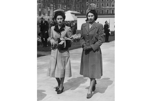 Princess Margaret and her sister, Princess Elizabeth, April 1948. (Photo by Fox Photos/PNA//Hulton Archive/Getty Images)