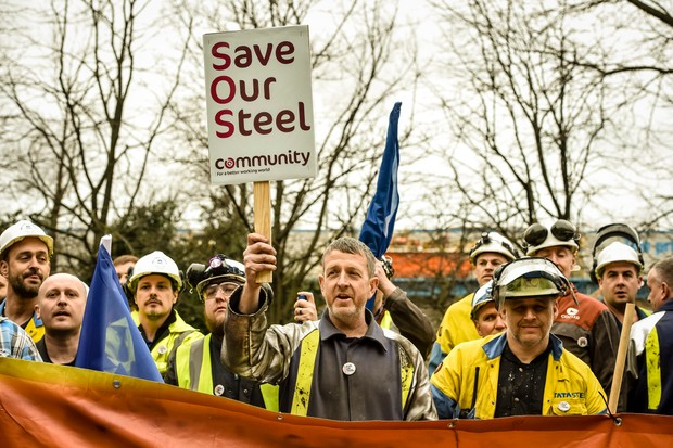Workers protest Tata Steel's 2016 announcement it was pulling out of the UK