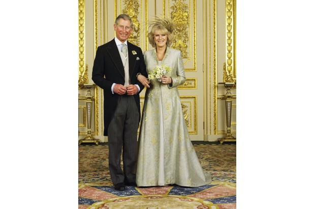 Charles, Prince of Wales with his new bride, Camilla, Duchess of Cornwall in the White Drawing Room at Windsor Castle after their wedding ceremony, 9 April 2005. (Photo by Hugo Burnand/Pool/Getty Images)