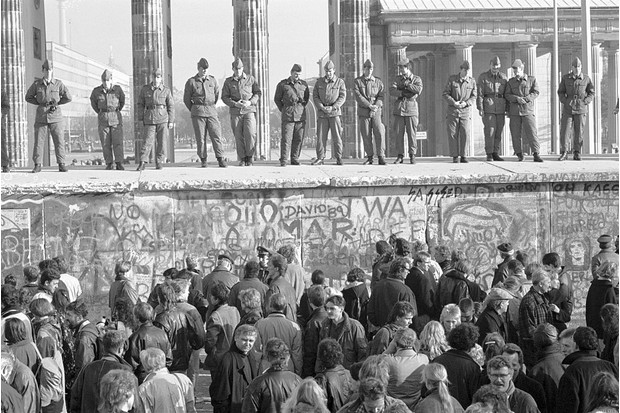 Date unknown: Border guards on top of the Berlin Wall. (Photo by David Turnley/Corbis/VCG via Getty Images)