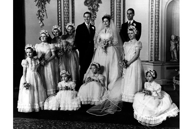 The bridal group at Buckingham Palace at the wedding of Princess Margaret and Antony Armstrong-Jones. (Photo by Getty Images)