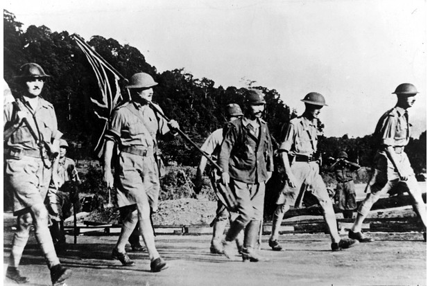British soldiers surrender to the Japanese in Singapore, 1942.