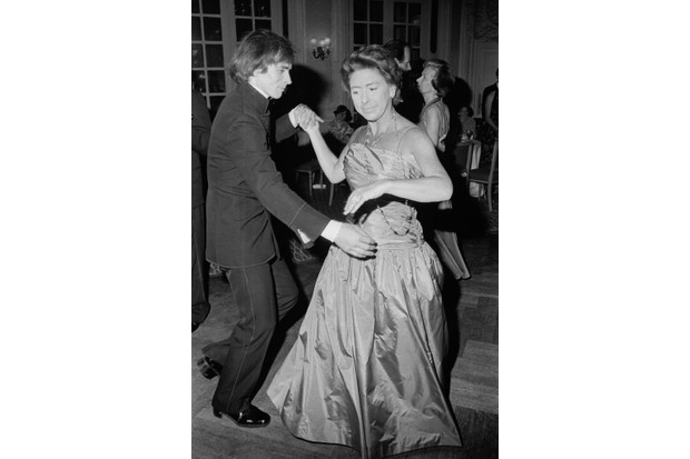 Princess Margaret and Rudolf Nureyev dancing together at a party in June 1977. (Photo by Evening Standard/Hulton Archive/Getty Images)