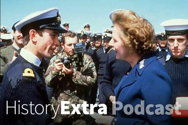 Margaret Thatcher meets personnel during her visit to the Falkland Islands. (Photo by Sven Nackstrand/AFP/Getty Images)