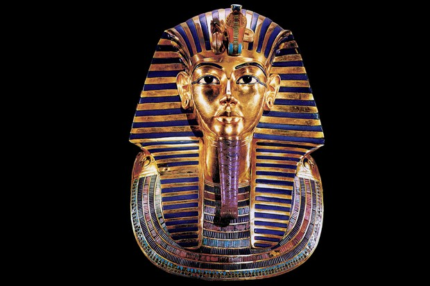 Tutankhamun's blue and gold funerary mask
