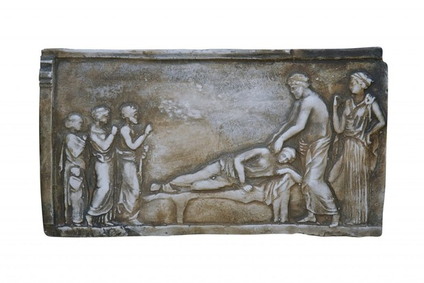 Photo of marble relief depicting Hippocrates