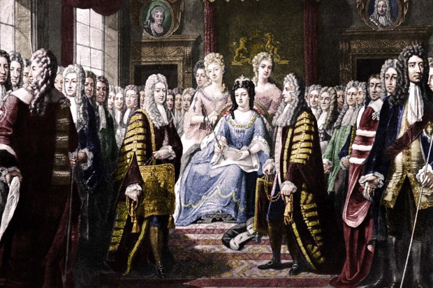Picture depicting the Articles of Union being presented to Queen Anne