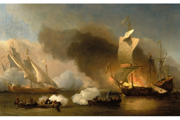 Naval battle between Barbary pirates and a European vessel