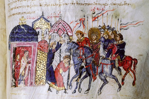 The Varangian Guard, as shown in the 12th-century Madrid Skylitzes. Around this time, the guard, which protected the Byzantine emperor, was apparently dominated by English warriors who had fled the Norman conquest. (Image by Bridgeman)
