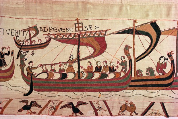 William the Conqueror's fleet sails for England, as depicted in the Bayeux Tapestry.