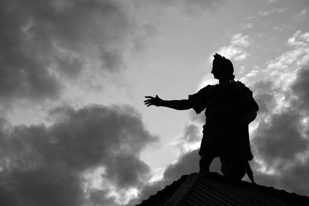 A statue of the Roman emperor Augustus in Augsburg, Germany