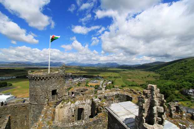 Harlech Castle with Snowdonia in the background.