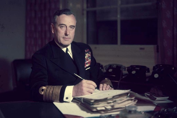 Lord Mountbatten at a desk