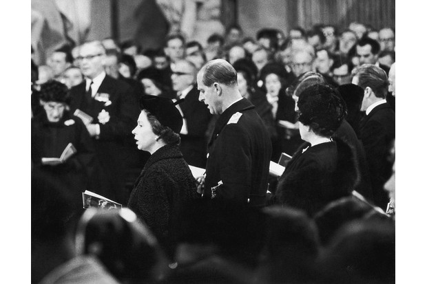 Queen Elizabeth II and Prince Philip at the funeral of Winston Churchill