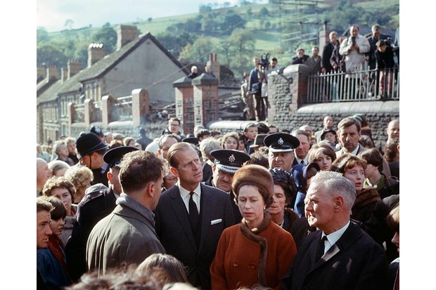 The Queen and Prince Philip visiting Aberfan.