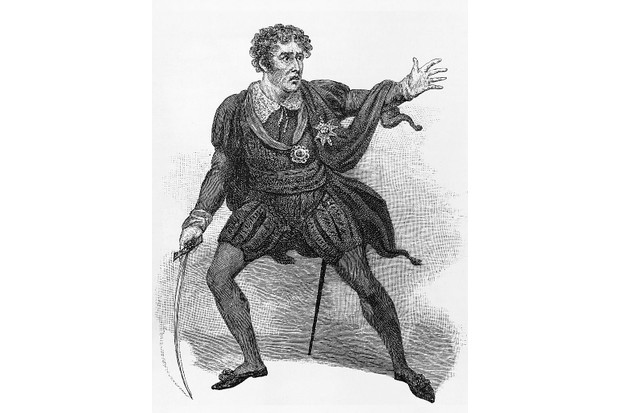 The acclaimed actor Edmund Kean playing the role of Shakespeare's Hamlet.