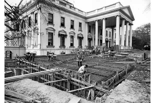 View of the White House during during its renovation in c1950. Courtesy National Archives. (Photo via Smith Collection/Gado/Getty Images).