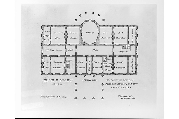 A c1901 drawing of the floor plan of the second story in the White House, which was originally designed by architect James Hoban. (Photo by Library of Congress/Corbis/VCG via Getty Images)