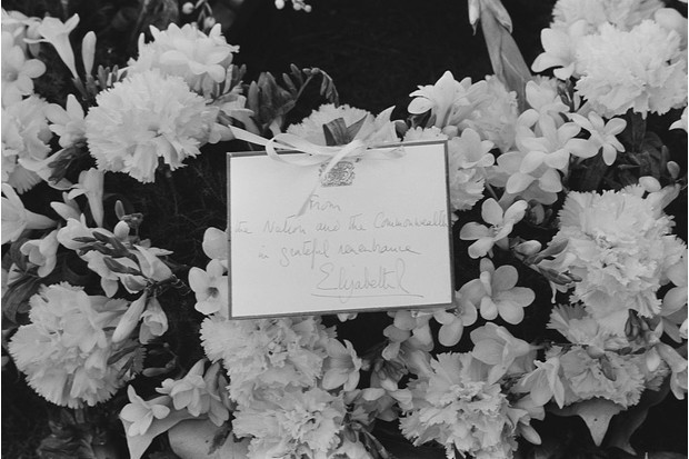 A wreath and note from Queen Elizabeth II on Sir Winston Churchill's grave in Bladon, Oxfordshire.