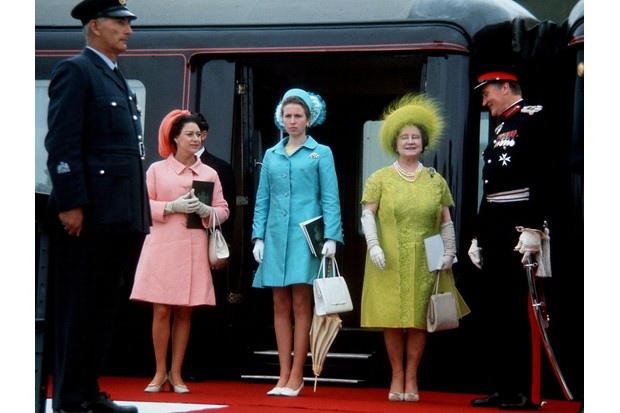 Princess Margaret, Princess Anne and the Queen Mother at the investiture of Prince Charles, Prince of Wales on July 1, 1969