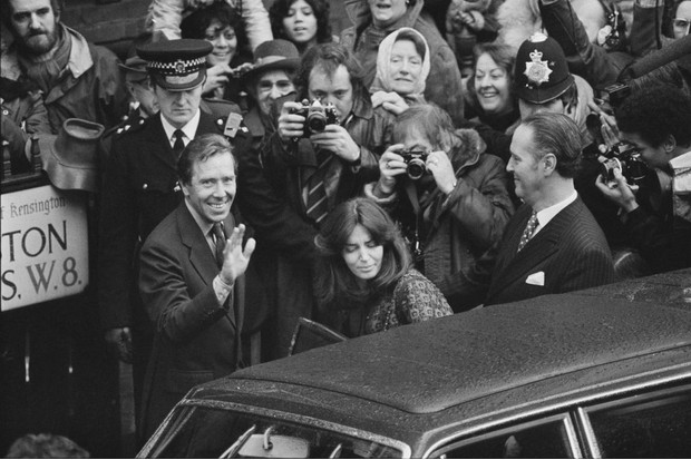 Antony Armstrong-Jones with Lucy Lindsay Hogg, following their wedding in 1978.