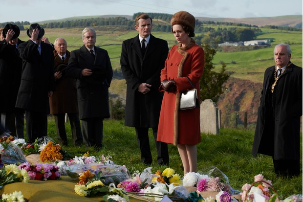 Olivia Colman depicts the Queen's reaction to the Aberfan disaster in 1966.