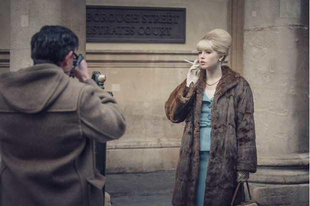 Ellie Bamber as Mandy Rice-Davies in 'The Trial of Christine Keeler'.