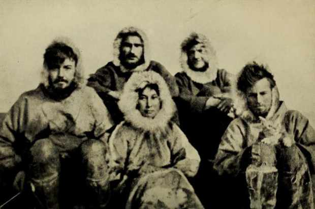 The 1921 Wrangel Island expedition team: Ada Blackjack, Allan Crawford, Lorne Knight, Fred Maurer, Milton Galle, and Victoria the cat. (Photo by Alamy)