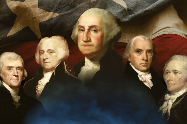 Five names are commonly held as titans among the Founding Fathers: Thomas Jefferson, John Adams, George Washington, James Madison and Alexander Hamilton (l-r). Food of them would serve as presidents of the young United States. (Images by Getty Images)