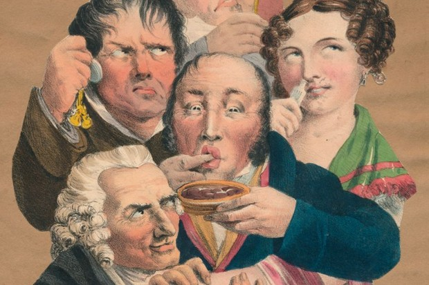 Depiction of the five senses (sight, sound, taste, smell and touch) by a late 18th/early 19th unknown artist. (Photo by Print Collector/Getty Images)