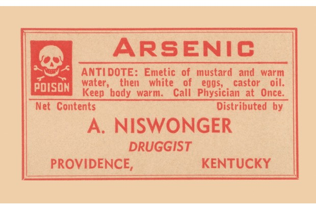 Warning label from a pharmacy bottle of arsenic