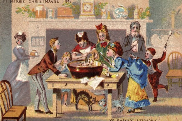 A family celebrates a Victorian Christmas