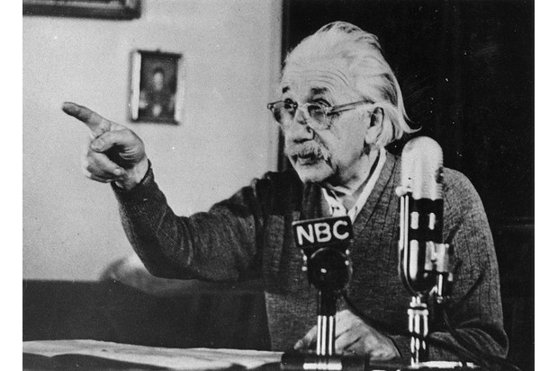 c1955: Physicist Albert Einstein (1879–1955) delivers one of his recorded lectures