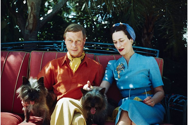 The Duke and Duchess of Windsor seated outdoors with two small dogs. (Photo by Getty Images)