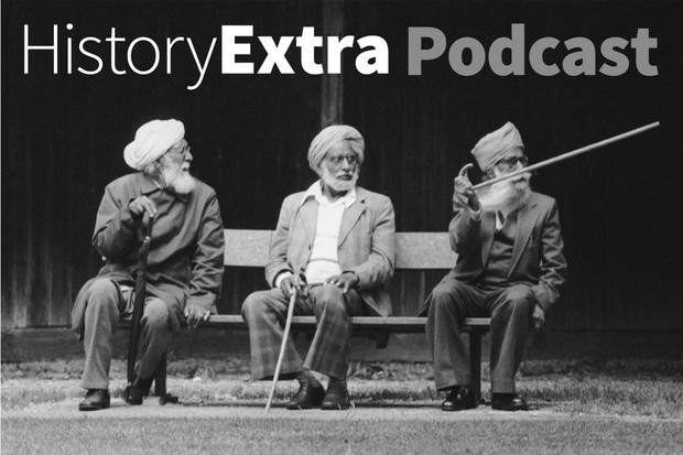 Three elderly men on a bench in London's Southall, circa 1980. (Photo by Getty Images)