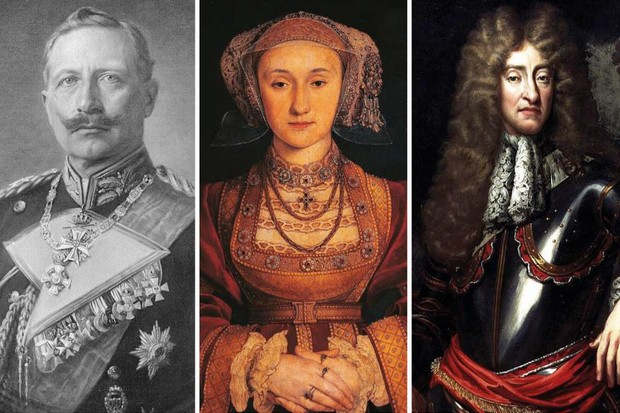 Three monarchs who stepped down through history: Kaiser Wilhem II; Anne of Cleves; and James VII and II. (Images by Getty)