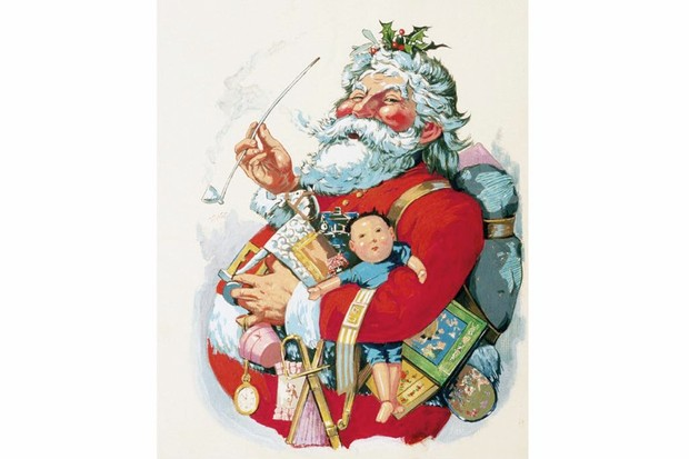 The figure of Santa Claus smokes a pipe