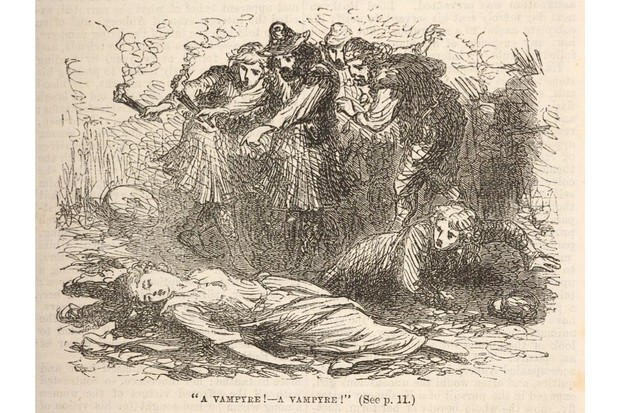 Horrified villagers discovering the body of Ianthe
