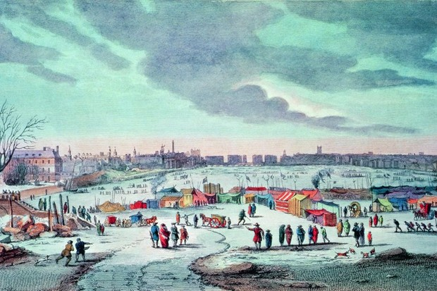 An engraving depicts a frost fair on the Thames