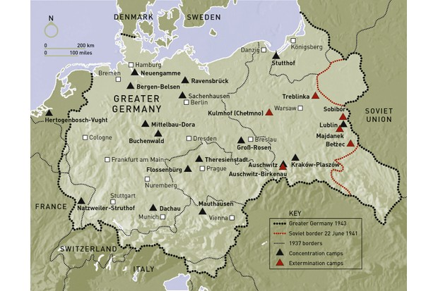 A map displaying the system of SS concentration camps in German-occupied Europe